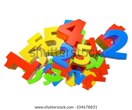 Heap of color number. Render. - stock photo