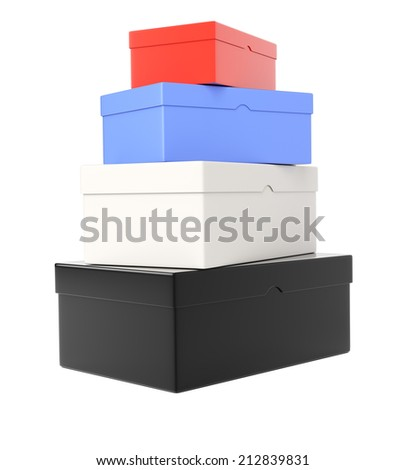 Heap of colored  shoeboxes isolated on white background. 3d rendering image - stock photo