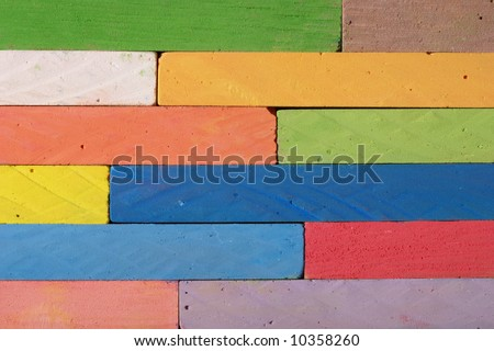 Heap of colorful chalks in close up