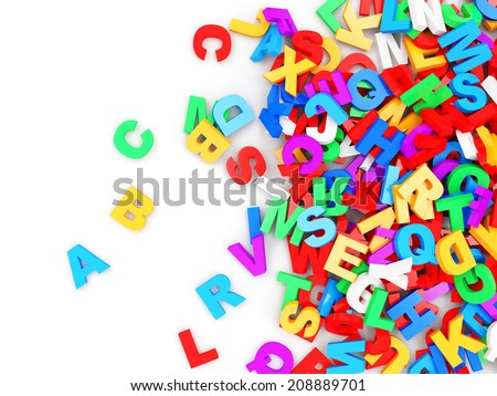 Heap of Colorful Letters isolated on white background. Education Concept - stock photo