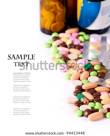 heap of colorful pills. medical background - stock photo