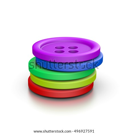 Heap of Colorful Tailor's Buttons on White Background 3D Illustration