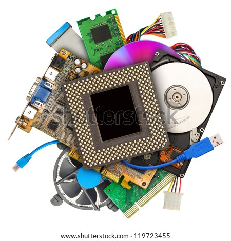 Heap of computer hardware isolated on white - stock photo