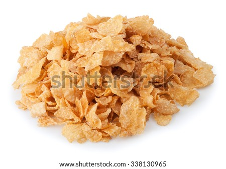 Heap of corn flakes isolated on white background - stock photo
