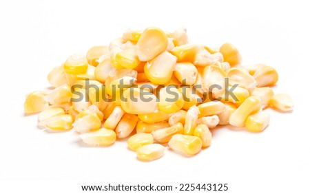 Heap of corn kernels isolated on white background