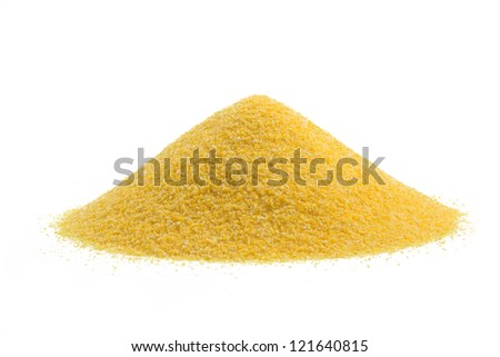 heap of cornmeal isolated on white background - stock photo
