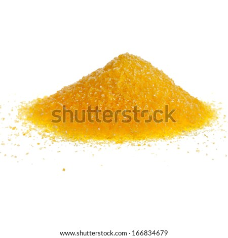heap of cornmeal maize flour isolated on white background