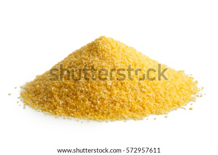 Heap of cornmeal polenta isolated on white.