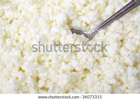 Heap of cottage cheese and teaspoon. Shallow DOF.