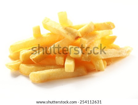 Heap of crispy golden deep fried French fries or potato chips for a tasty takeaway finger food or snack on a white background - stock photo