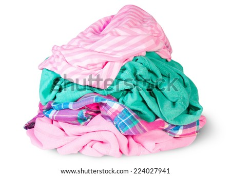 Heap Of Crumpled Clothes Isolated On White Background - stock photo
