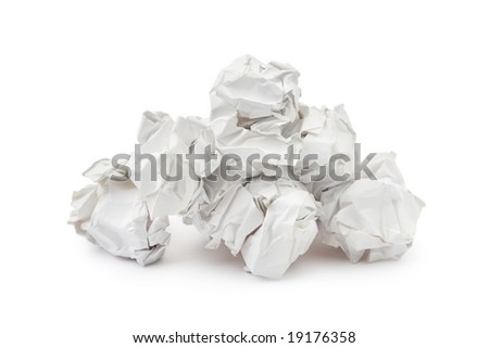 Heap of crumpled paper isolated on white background - stock photo