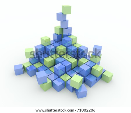 Heap of cubes on a white background. Explosion, destruction - stock photo