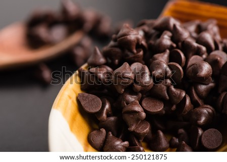 heap of dark chocolate chip in the bowl  - stock photo