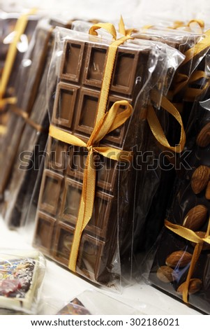 Heap of delicious chocolate close up - stock photo