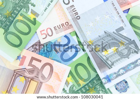 Heap of different euro banknotes - stock photo