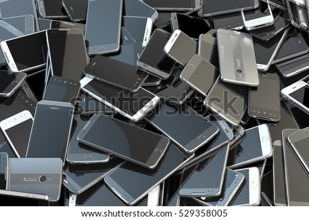 Heap of different smartphones. Mobile phone technology concept background. 3d illustration