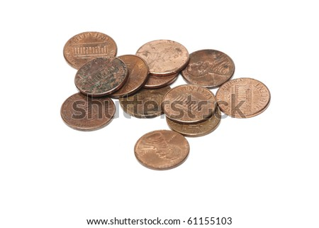 heap of dirty us cents - stock photo