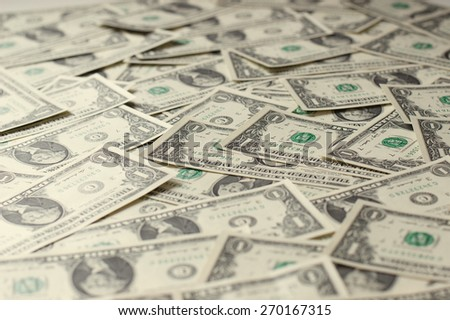 Heap of Dollars; Money Background - stock photo