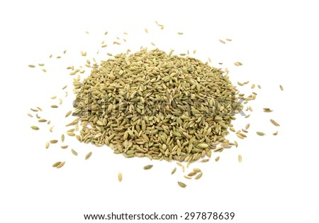 Heap of dried fennel seeds, isolated on a white background - stock photo