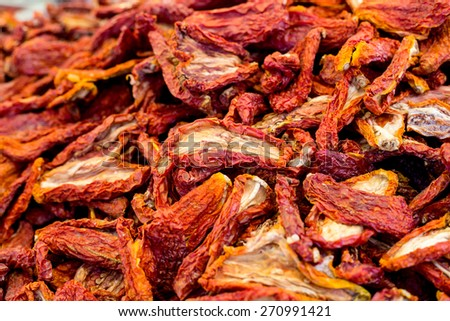 Heap of dried tomatoes