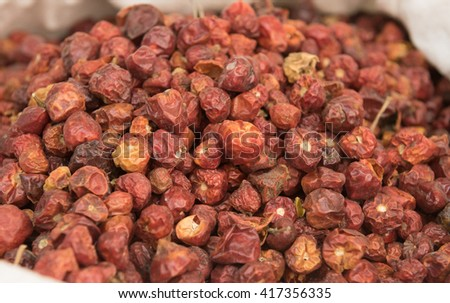 heap of Dried whole round Chillis (Dundicut)  - stock photo
