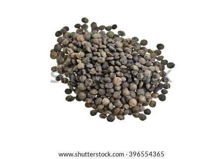 Heap of dry French lentils isolated on white  - stock photo