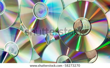 heap of dvd, cd disks - stock photo