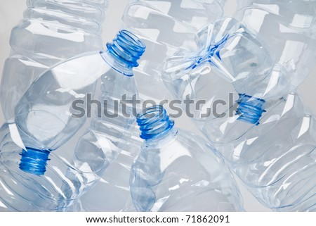 heap of empty plastic bottles ready for recycle