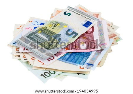 Heap of euro banknotes isolated on white background with clipping path - stock photo