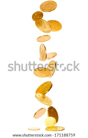 Heap of falling old gold coins isolated on white  - stock photo