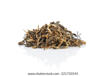 heap of famous dian hong yunnan tea, isolated on white