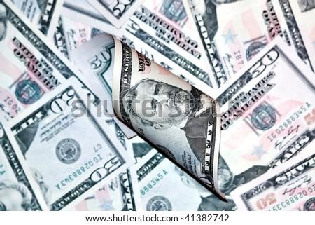 heap of fifty dollars - stock photo