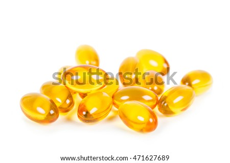 Heap of fish oil on white background.