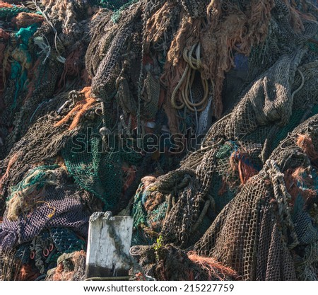 Heap of fishing nets  - stock photo