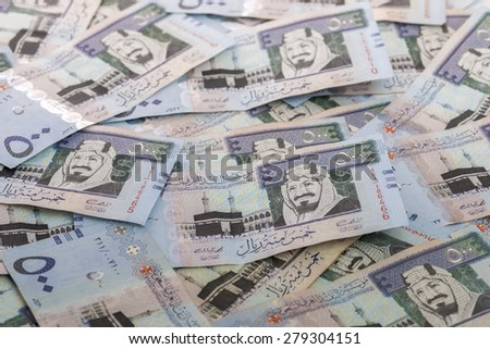 Heap of Five Hundred Saudi Riyals Banknotes - stock photo