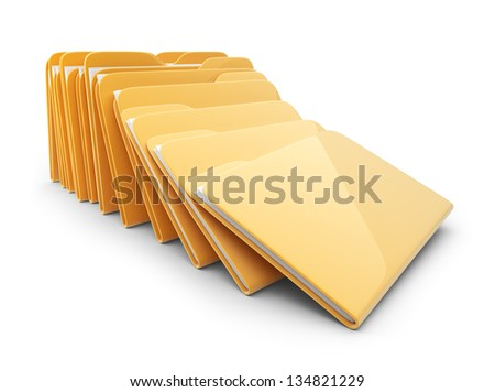 Heap of folders and files. 3D Icon isolated on white - stock photo