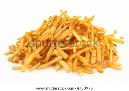 heap of French fries against white background