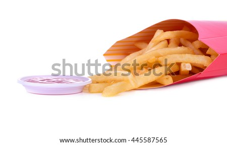 heap of french fries isolated on white background - stock photo