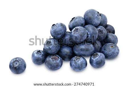 Heap of fresh blueberry berries isolated on white background - stock photo