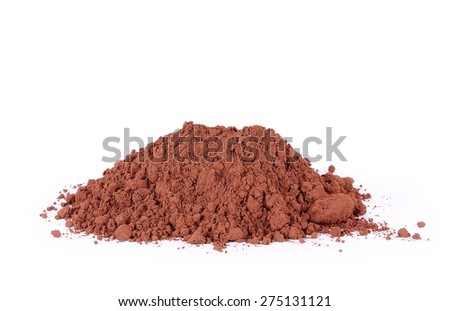 Heap of fresh cacao powder isolated on white background - stock photo