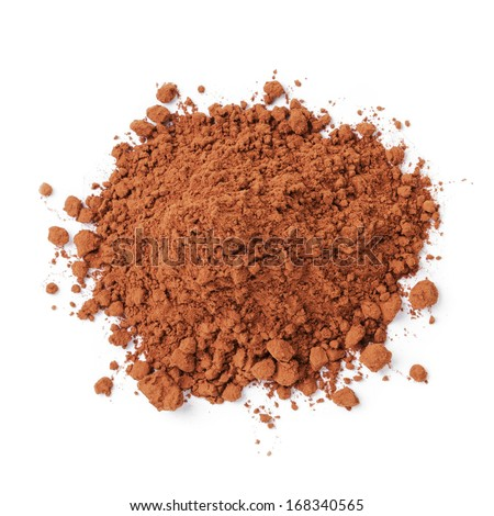 heap of fresh cacao powder, on white ckground
