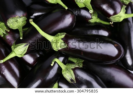 Heap of fresh eggplants close up - stock photo