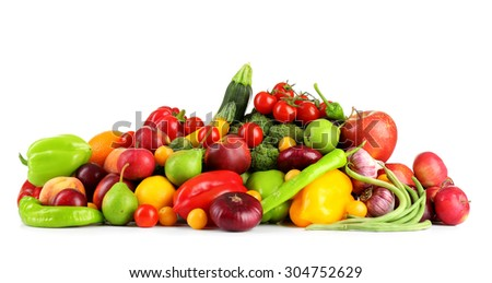 Heap of fresh fruits and vegetables  isolated on white - stock photo