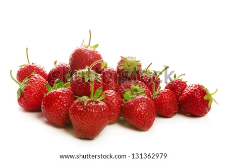 Heap of fresh red ripe strawberries isolated on white - stock photo