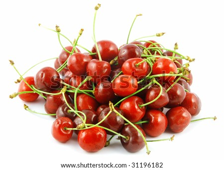 Heap of fresh ripe cherries isolated on white
