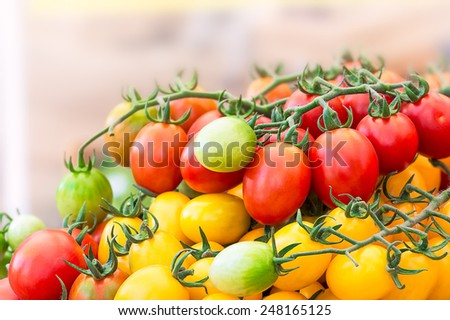 Heap of fresh tomatoes in the market