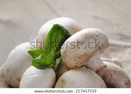 heap of fresh white mushrooms on sack cloth over table - stock photo