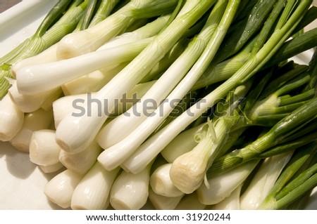 Heap of fresh young onion - stock photo