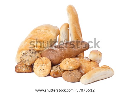 Heap of freshly baked bread on white background - stock photo